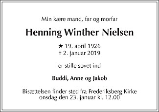 Henning Winther  Nielsen Death notice