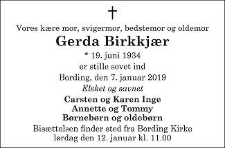 Gerda Birkkjær Death notice