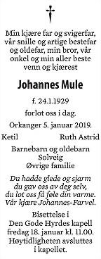 Johannes Mule Dødsannonse