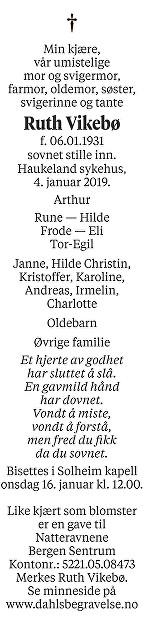 Ruth Vikebø Dødsannonse