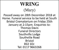 Mary Wring Death notice