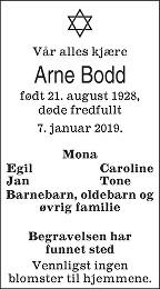 Arne Bodd Dødsannonse