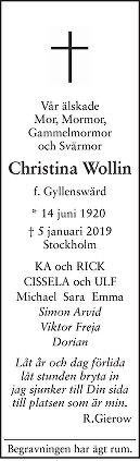 Christina Wollin Death notice