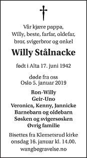 Willy Stålnacke Dødsannonse
