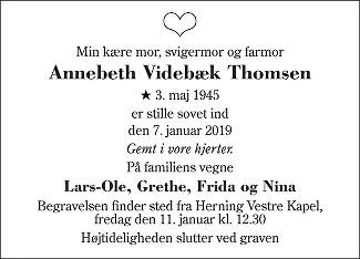 Annebeth Videbæk Thomsen Death notice