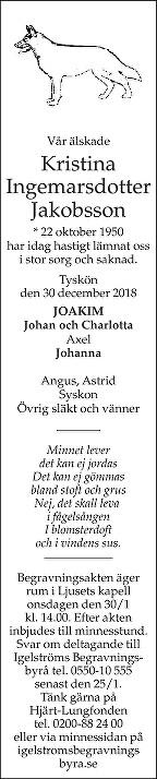 Kristina Ingemarsdotter Jakobsson Dödsannons