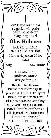 Olav Holmen Dødsannonse