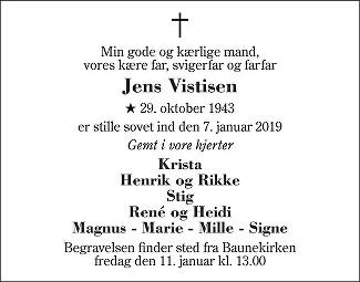 Jens Bækgaard Vistisen Death notice