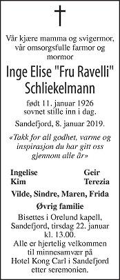 Inge Elise Schliekelmann Dødsannonse
