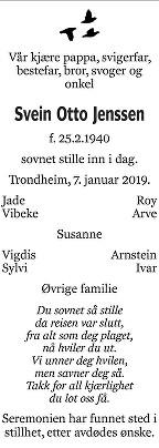 Svein Otto Jenssen Dødsannonse