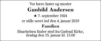 Gunhild Andersen Death notice