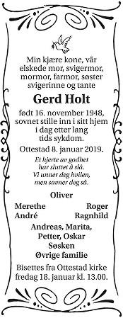 Gerd Holt Dødsannonse