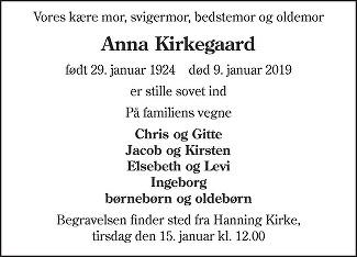 Anna Bjørnkjær Rindom Kirkegaard Death notice