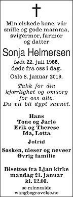 Sonja Helmersen Dødsannonse