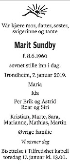 Marit Sundby Dødsannonse