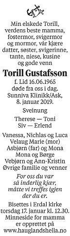 Torill Gustafsson Dødsannonse