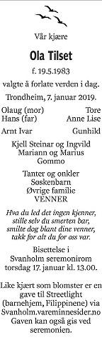 Ola Tilset Dødsannonse