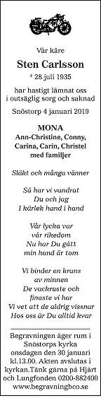 Sten Carlsson Dödsannons