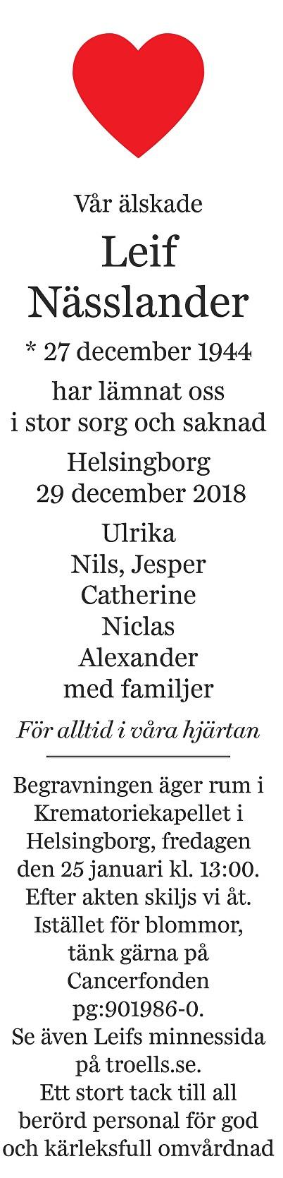 Leif Nässlander Death notice