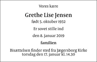 Grethe Lise  Jensen Death notice