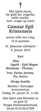 Gunnar Egil Kristensen Dødsannonse