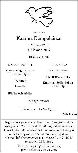 Kaarina Kumpulainen Death notice