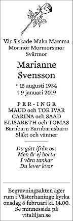 Marianne Elsa Svensson Dödsannons