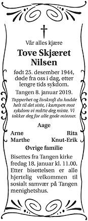 Tove Skjæret Nilsen Dødsannonse