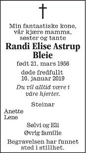Randi Elise Astrup Bleie Dødsannonse