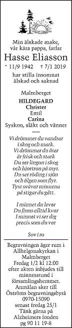 Hasse Eliasson Dödsannons