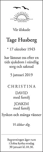 Tage Husberg Death notice