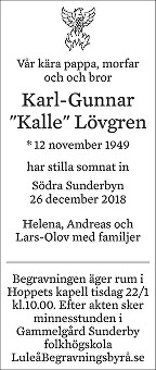 Karl-Gunnar Lövgren Dödsannons