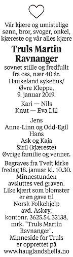 Truls Martin Ravnanger Dødsannonse