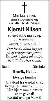 Kjersti Nilsen Dødsannonse