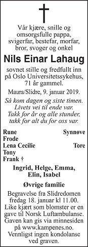 Nils Einar Lahaug Dødsannonse
