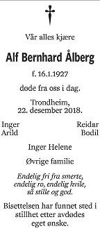 Alf Bernhard Ålberg Dødsannonse
