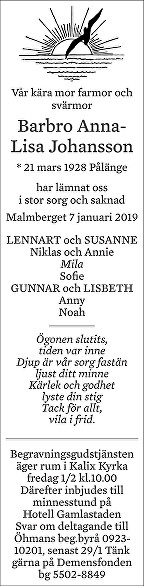 Barbro Anna-Lisa Johansson Dödsannons
