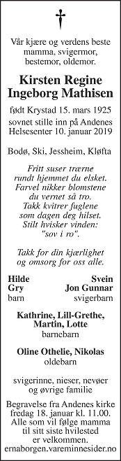 Kirsten Regine Ingeborg Mathisen Dødsannonse