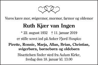 Ruth Kjær van Ingen Death notice