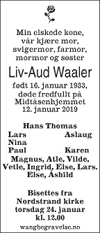 Liv-Aud Waaler Dødsannonse