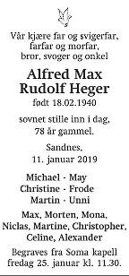 Alfred Max Rudolf  Heger Dødsannonse