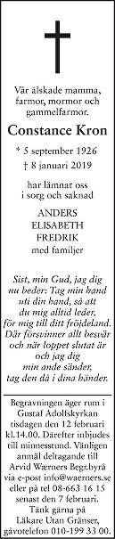 Constance Kron Death notice