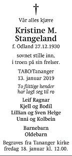 Kristine Margrethe Stangeland Dødsannonse