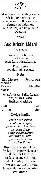 Aud Kristin Lidahl Dødsannonse