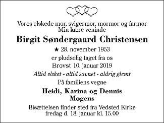 Birgit Søndergaard  Christensen Death notice