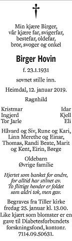 Birger  Hovin Dødsannonse