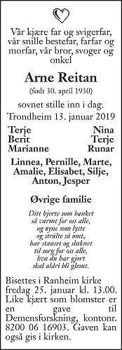 Arne Reitan Dødsannonse