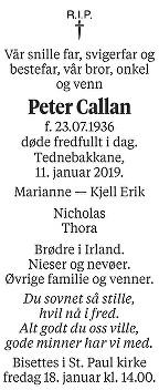 Peter Callan Dødsannonse