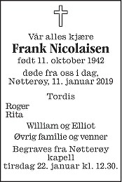 Frank Nicolaisen Dødsannonse