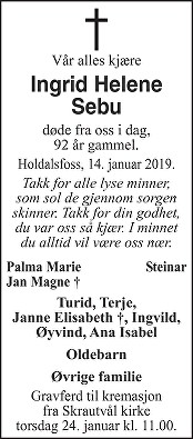 Ingrid Helene Sebu Dødsannonse